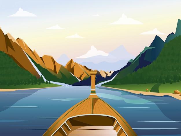 Barca sul lago in una regione montuosa con l'illustrazione delle foreste.