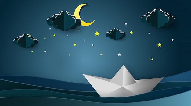 Barche a vela sul paesaggio dell'oceano con la luna e le stelle