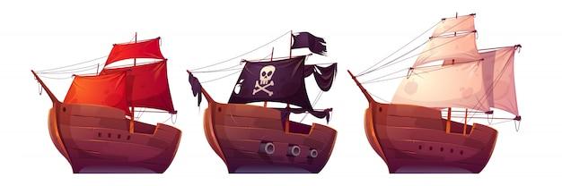 Barche a vela vettoriale con vele bianche, rosse e nere