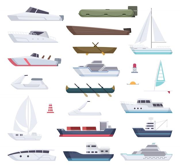 Barche. acqua mare o oceano nave piccole e grandi navi e trasporto di cartoni animati di barche a vela