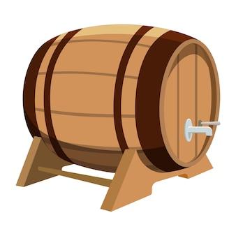 Barile di birra su sfondo bianco. illustrazione del fumetto del barilotto con la birra.