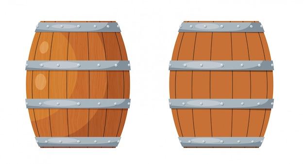 Barile di legno. botte di vino in legno nello stile di un vettore di cartone animato