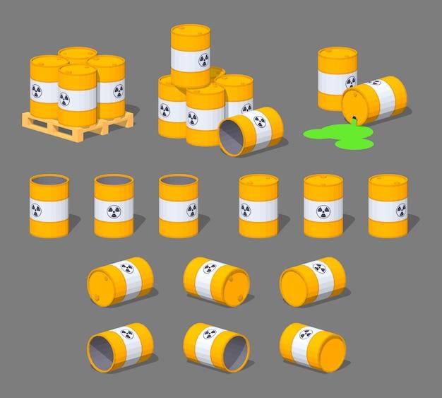 Barili di metallo isometrico 3d lowpoly con le scorie nucleari