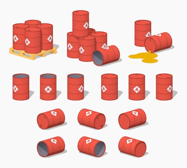 Barili isometrici in metallo rosso lowpoly 3d con il carburante