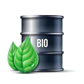 Barilotto nero di biocarburante con la parola bio e foglie verdi isolate, progettazione concettuale dell'ambiente. .