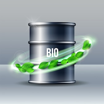Barilotto nero di biocarburante con la parola bio e foglie verdi su fondo bianco, ambiente concettuale. illustrazione.