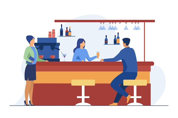 Barista che dà un bicchiere di birra al cliente maschio. bere, amministratore, illustrazione vettoriale piatto bancone bar. bevande alcoliche e servizio