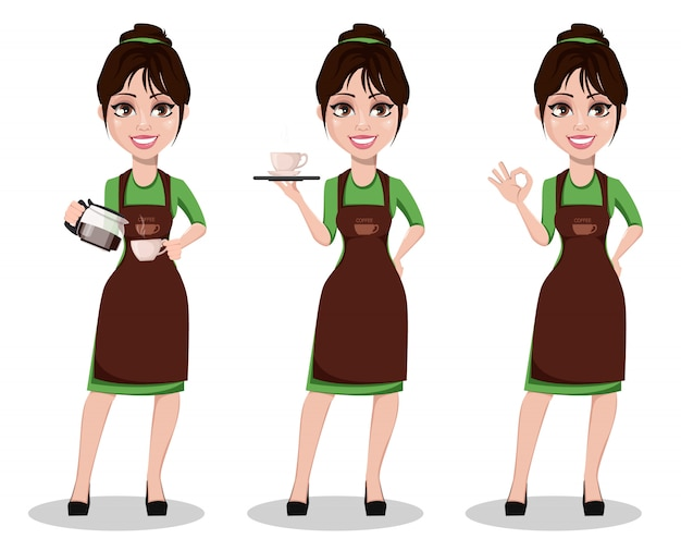 Barista femminile in divisa professionale