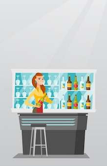 Barista in piedi al bancone del bar.