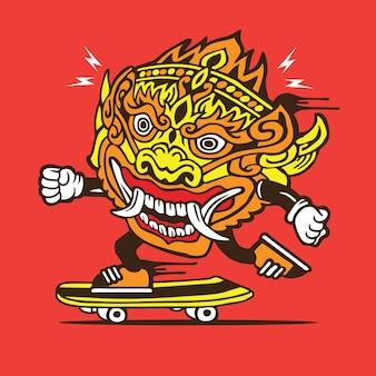 Barong traditional mask skate skateboard character design