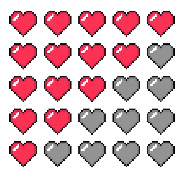 Barra della vita. barra della salute. pixel art.