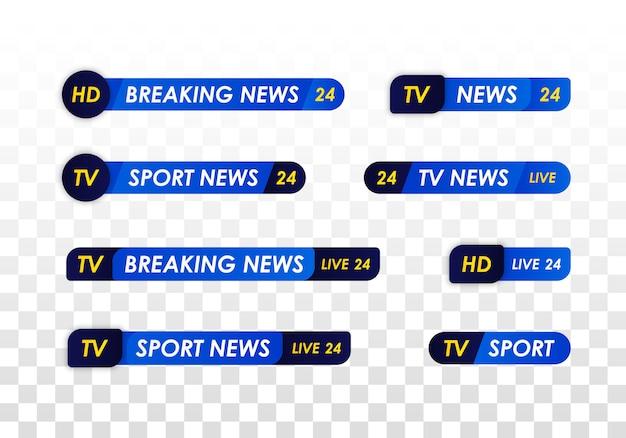 Barra delle notizie della tv. banner di titolo multimediale di trasmissione televisiva. trasmissione televisiva in diretta, spettacolo in streaming. notizie sportive