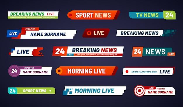 Barra delle notizie tv. banner di trasmissione televisiva. impostato