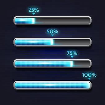 Barra di avanzamento blu, caricamento, modello per l'interfaccia dell'app