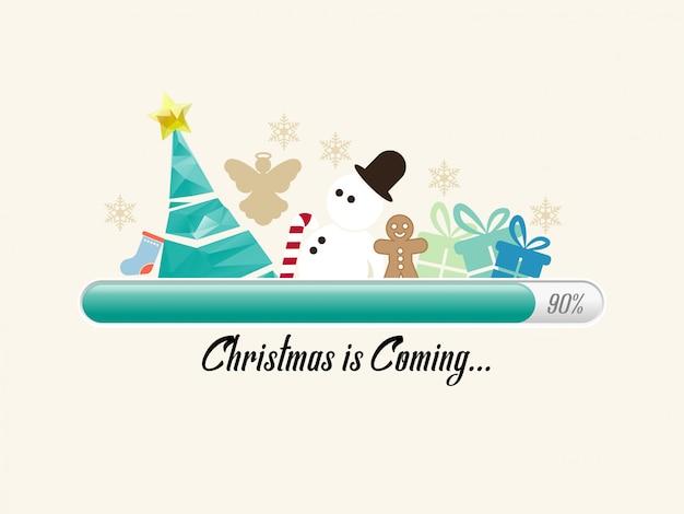 Barra di avanzamento delle festività con l'albero di natale e l'altra delle decorazioni natalizie.