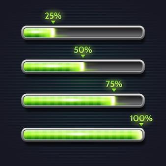 Barra di avanzamento verde, caricamento, modello per l'interfaccia dell'app
