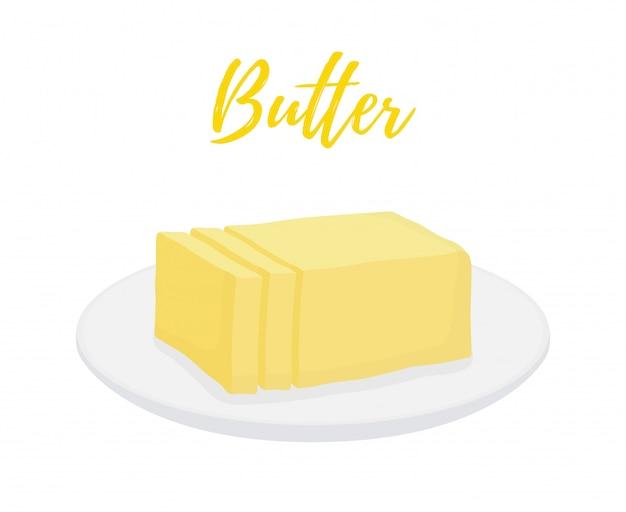 Barra di burro gialla con le fette sul piatto