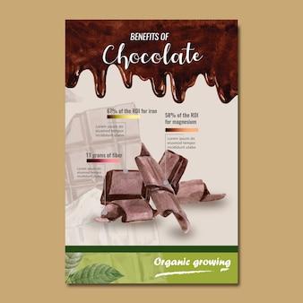 Barra di cioccolato acquerello con sfondo di cioccolato liquido, infografica, illustrazione