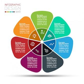 Barra di gruppi di modello di infographic forma di cerchio di affari.