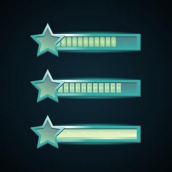 Barra di interfaccia di gioco fantasy con bordo cornice modello stella