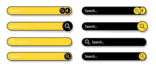 Barra di ricerca per l'interfaccia utente. icone della barra di ricerca. icone nere e gialle su sfondo bianco. selezione moderna della barra di ricerca. illustrazione.