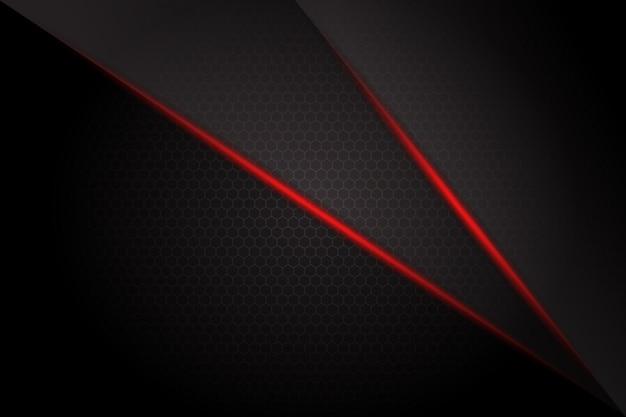 Barra luminosa astratta della luce rossa su fondo futuristico moderno di progettazione di spazio in bianco grigio scuro