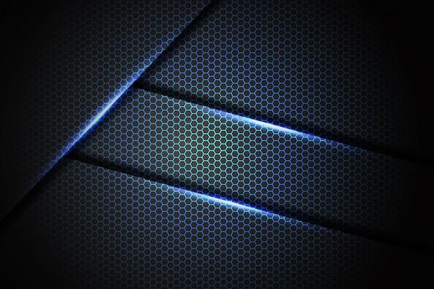 Barra luminosa blu astratta su futuristico di lusso moderno di progettazione della maglia di esagono grigio scuro
