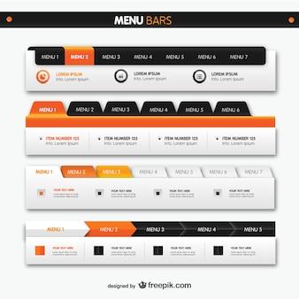 Barre dei menu elementi web