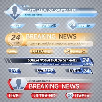 Barre vettoriali tv e grafica broadcast. banner di notizie per lo streaming tv, trasmissione di video illustrazione della televisione