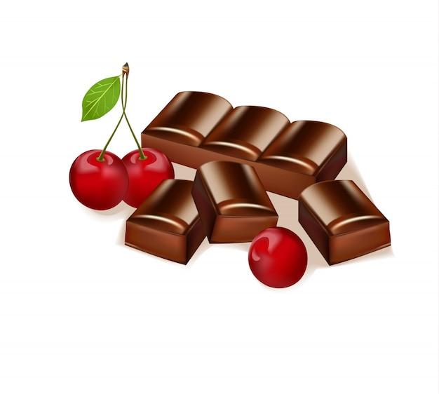Barretta di cioccolato al gusto di ciliegia. delizioso dessert