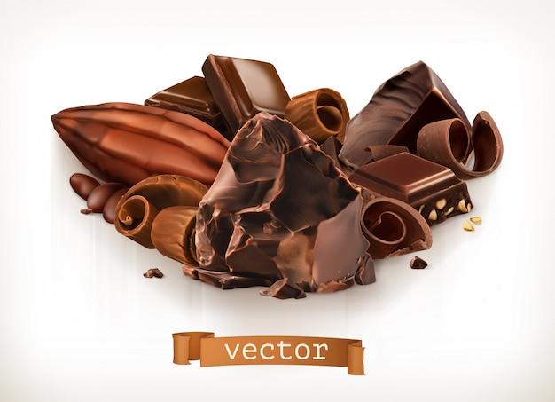 Barrette di cioccolato e pezzi, trucioli, frutta di cacao, illustrazione di vettore 3d