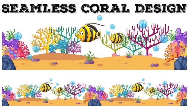 Barriera corallina senza giunte e pesci subacquei