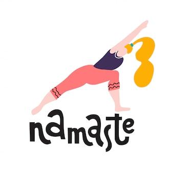 Basamento della giovane donna in una stampa di posa di yoga. ragazza di yoga in posizione fitness. la ragazza sveglia sveglia esegue il guerriero di posa invertito. lettering namaste. calligrafia di citazione ispiratrice. illustrazione di yoga