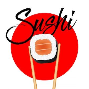 Bastoncini che tengono il rotolo dei pezzi del salmone dei sushi.