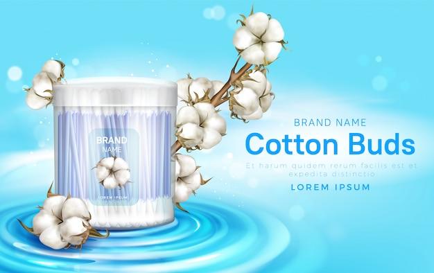 Bastoncini di cotone in contenitore e fiori di cotone
