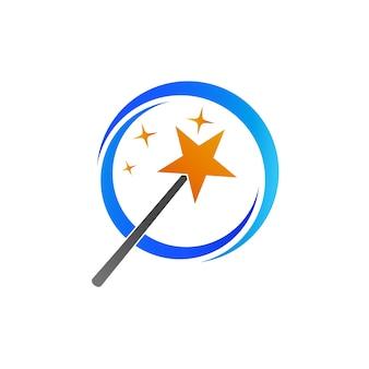 Bastone magico con stella logo template