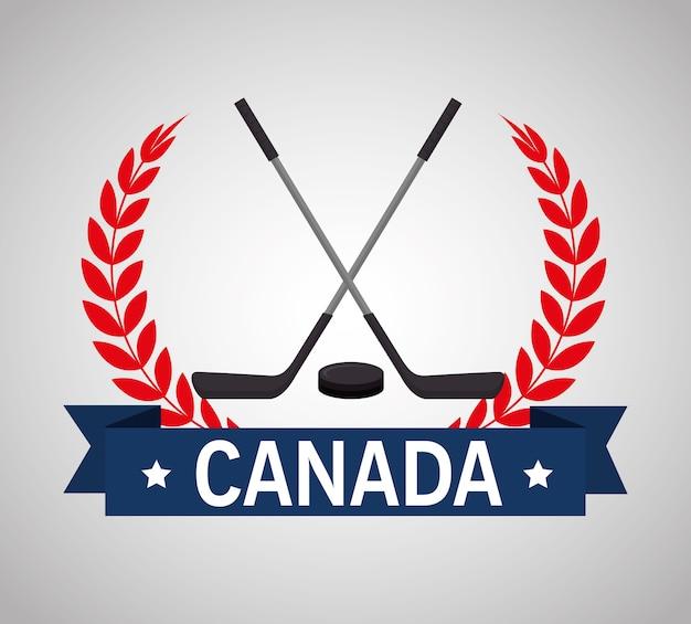 Bastoni da hockey attraversato emblema canadese