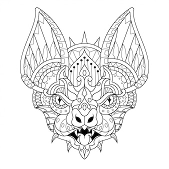 Bat mandala zentangle lineal style