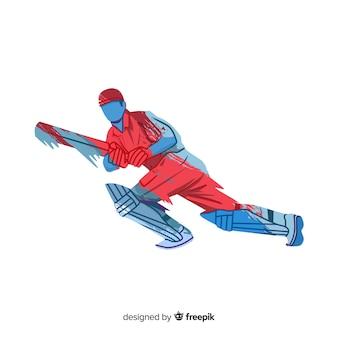 Batsman che gioca a cricket nello stile rosso e blu dell'acquerello