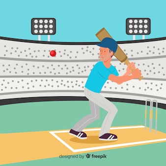 Batsman che gioca cricket in stadio