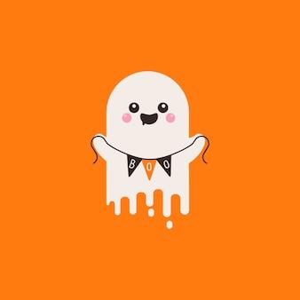 Battente spirito fantasma tenendo bandiera boo. felice halloween