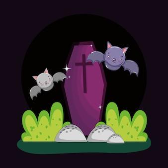 Battenti pipistrelli bara all'aperto halloween