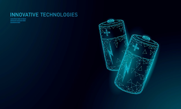 Batteria alcalina poligonale completamente carica. accumulatore elettrico di accumulo di energia. illustrazione scura blu d'ardore di poli concetto basso di tecnologia di industria di cielo dello spazio della particella del poligono basso