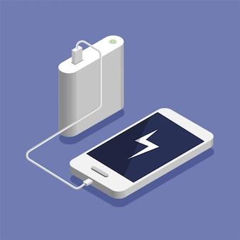 Batteria scarica. smartphone isometrico in carica con power bank esterno. concetto del dispositivo di archiviazione del database, illustrazione.