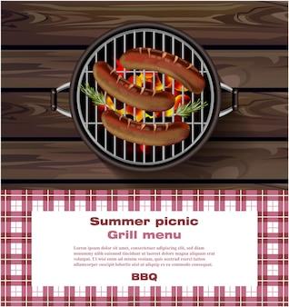 Bbq grill con salsicce calde