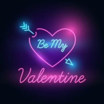 Be my valentine: lettera al neon illuminata al buio