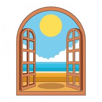 Beach attraverso la finestra