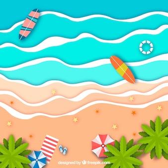 Beach dall'alto in stile cartaceo