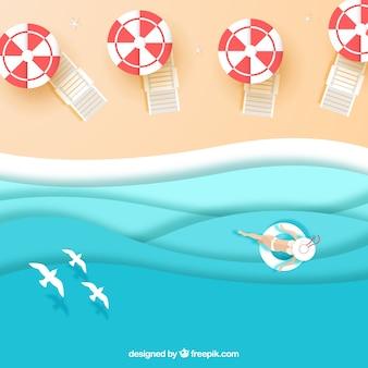 Beach dall'alto in texture di carta