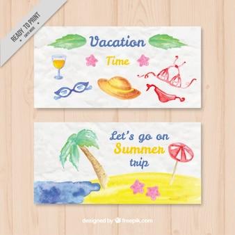 Beach elementi di acquerello banner